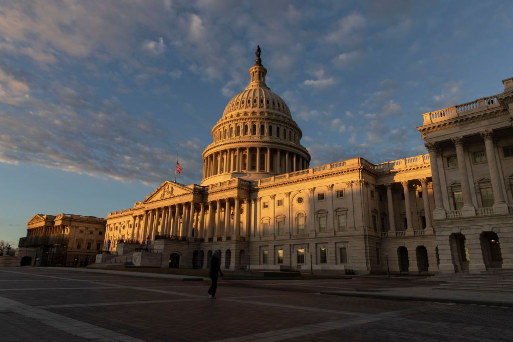 WASHINGTON, DC - DECEMBER 22: Light hits the US Capitol during sunrise on December 22, 2018 in Washington, DC. Democrats refused to agree with President Donald Trump's demands for five billion dollars to go towards building a wall on the U.S. southern border. (Photo by Alex Edelman/Getty Images)